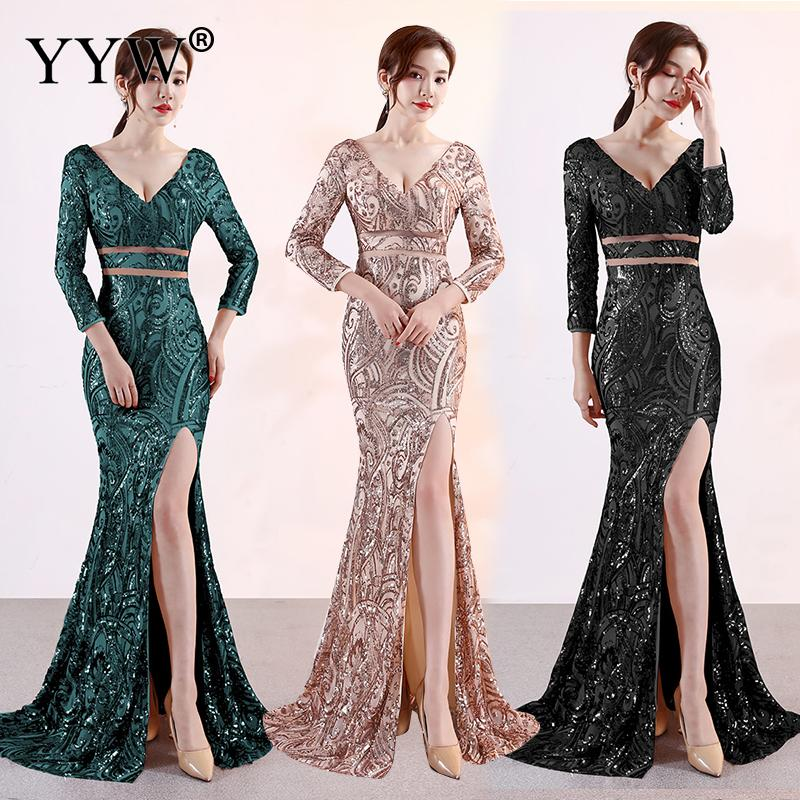 Luxury Gold Sequined V Neck Backless Prom Elegant Long   Dress   Women 3/4 Sleeve Sexy Bodycon Club Wear Night Party   Evening     Dresses