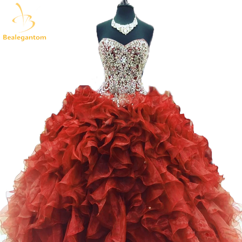 2018 New Red Ball Gown Quinceanera Dresses Beaded Sweet 16 ...