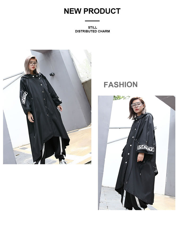 XITAO Spliced Plus Size Black Trench For Women Tide Long Print Streetwear Hoodie Casual Female Wide Waisted Coat 19 ZLL1100 10