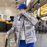 Популярный модный мужской зимний пуховик для осени и зимы теплая Светоотражающая куртка Яркая блестящая ткань толстая мужская хлопковая к