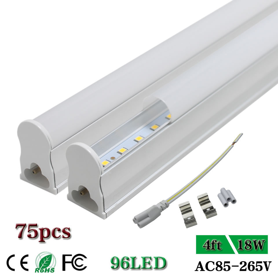 <font><b>Led</b></font> Tube Lamp 4ft Ceiling shop cabinet Light bulb <font><b>T5</b></font> Integrated single fixture 48'' bar Lights clear/Milky Cover <font><b>18W</b></font> AC85-265V image