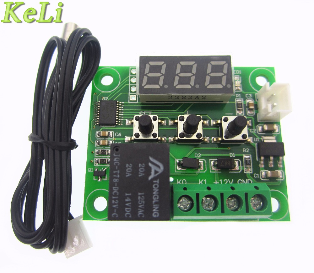 10PCS W1209 DC 12V heat cool temp thermostat temperature control switch temperature controller thermometer thermo controller digital led thermometer temperature controller ac220v 10a thermostat incubator control microcomputer probe weather station m12