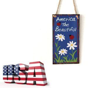 Image 5 - Placa de suspensão de madeira do vintage américa o belo sinal de flor placa porta parede decoração para casa independência dia festa presente