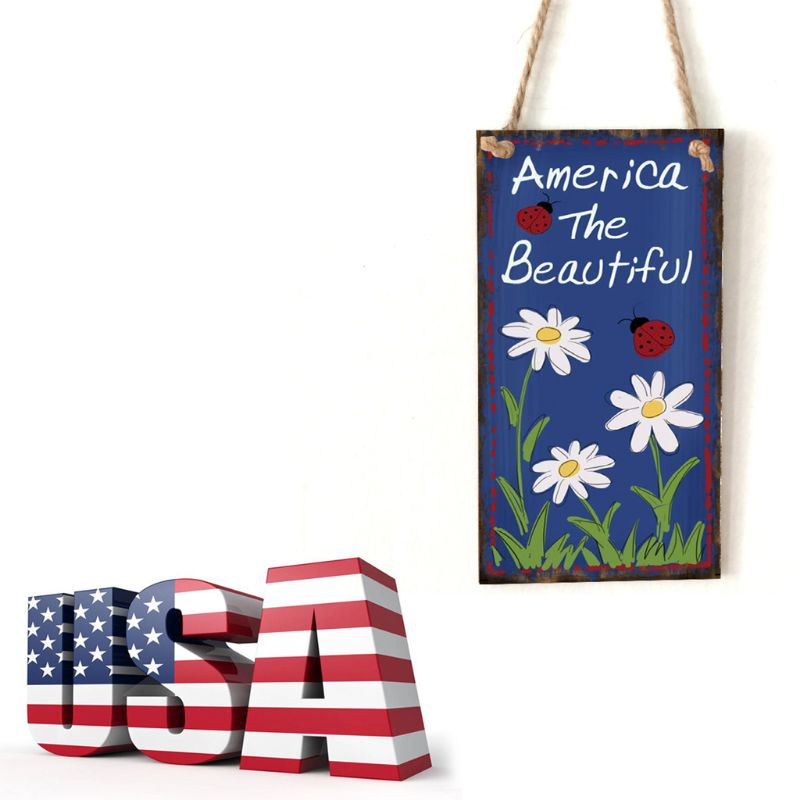 Image 5 - Vintage Wooden Hanging Plaque America The Beautiful Flower Sign Board Wall Door Home Decoration Independence Day Party Gift-in Plaques & Signs from Home & Garden