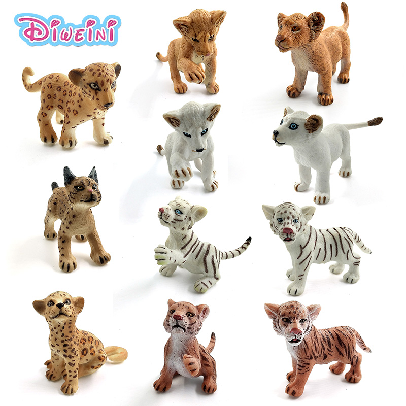 Simulation baby Lion Tiger Lynx forest wild animals model figurine plastic toys home