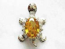 Luxury Jewelry Girls Turtle  Vintage stone donut yellow gem Stone  Silver Tortoise Female Luxury pendants + Necklace