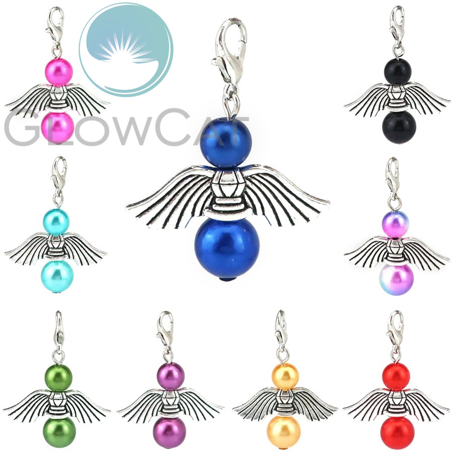 10pcs Mixed Angel Charms Pendant Teardrop//Round Pearl Beads Silver Wings Jewelry