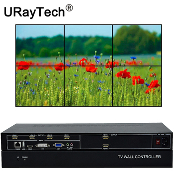 6 Channels TV Video Wall Controller 3x2 2x3 2x2 HDMI DVI VGA USB Video Processor With RS232 Control for 6 TV Video Splicing