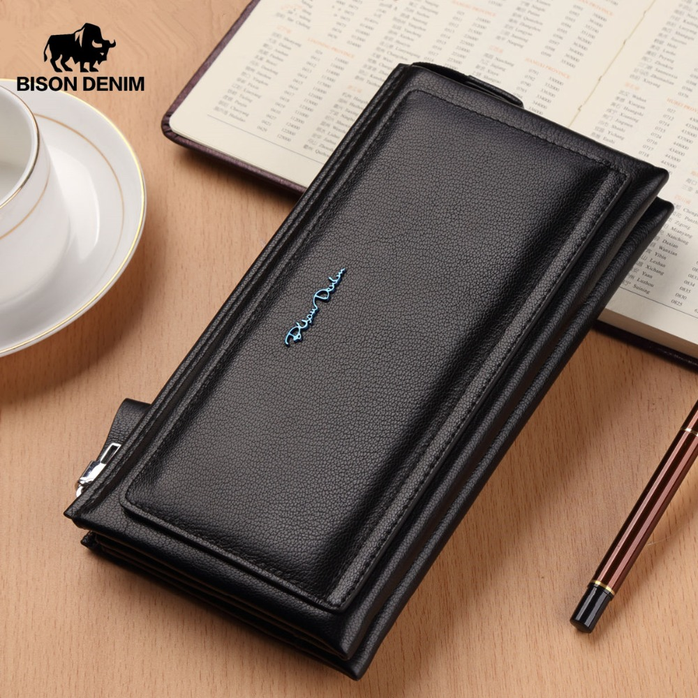 BISON DENIM Cow Leather Men Long Wallet Soft Luxury Brand Male Clutch Bag Wallets Genuine Leather Long Purse For Men N8165