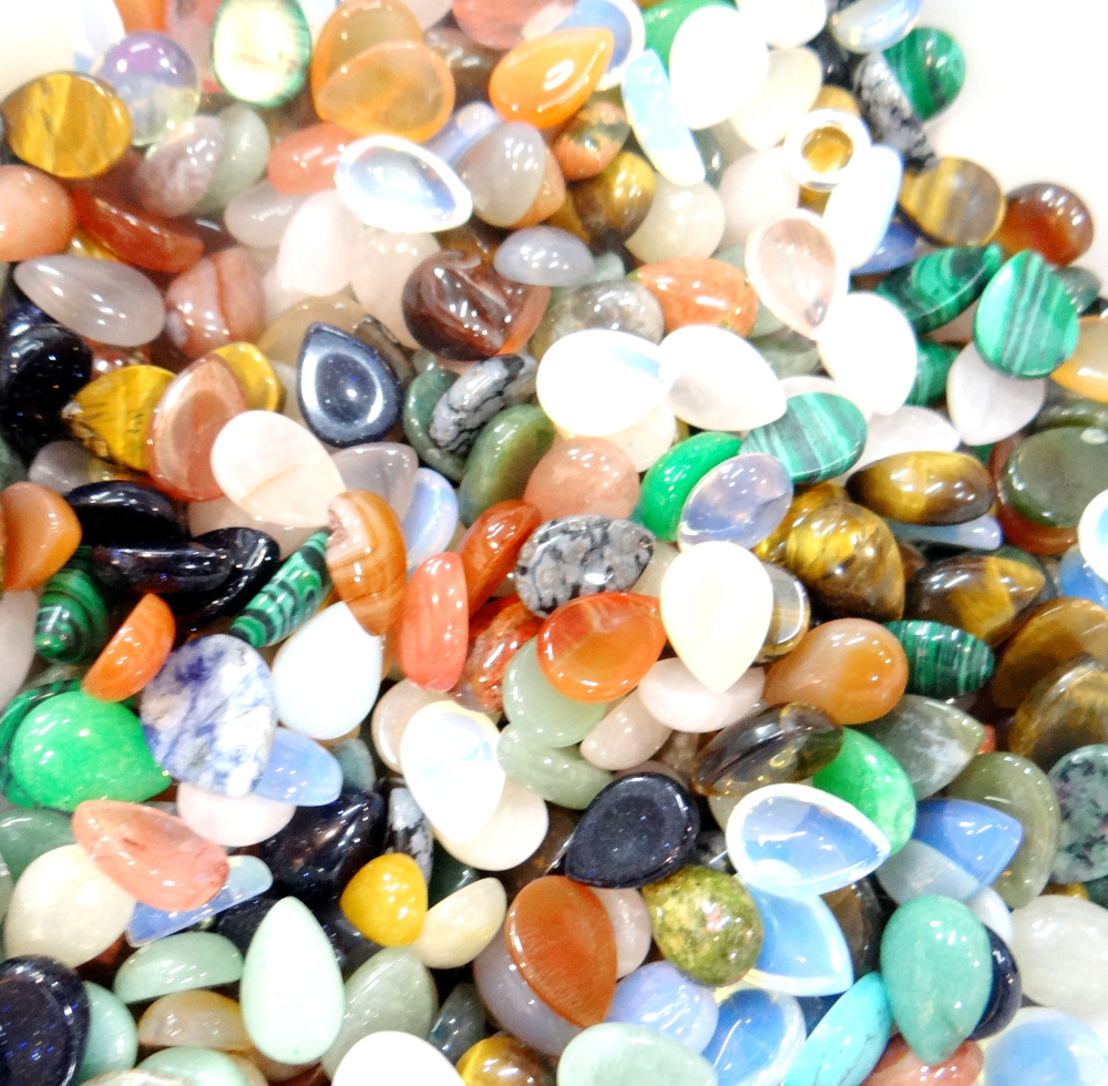 Wholesale Opal Malachite Tiger Eye Agates Nanual Section Natural Stone Mix Water Drop CAB Cabochon 13*18mm pendant no hole 50pcs