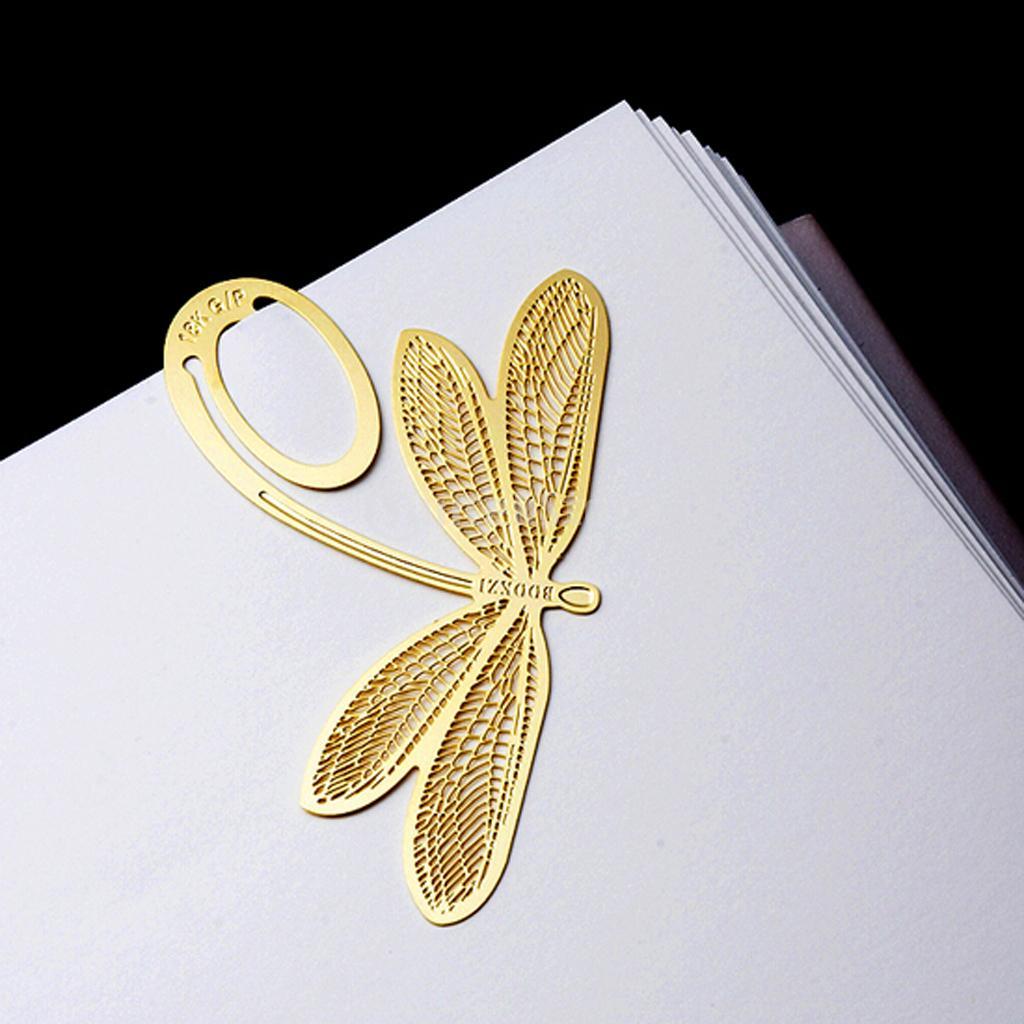Golden Creative Dragonfly Metal Clip Bookmark Marker Reading Favor ...