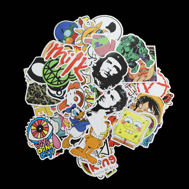 hot sell 10Pcs /Style C Pvc Waterproof Cartoon Style Funny Laptop Stickers For Laptop Skateboard Luggage Decal PC Sticker