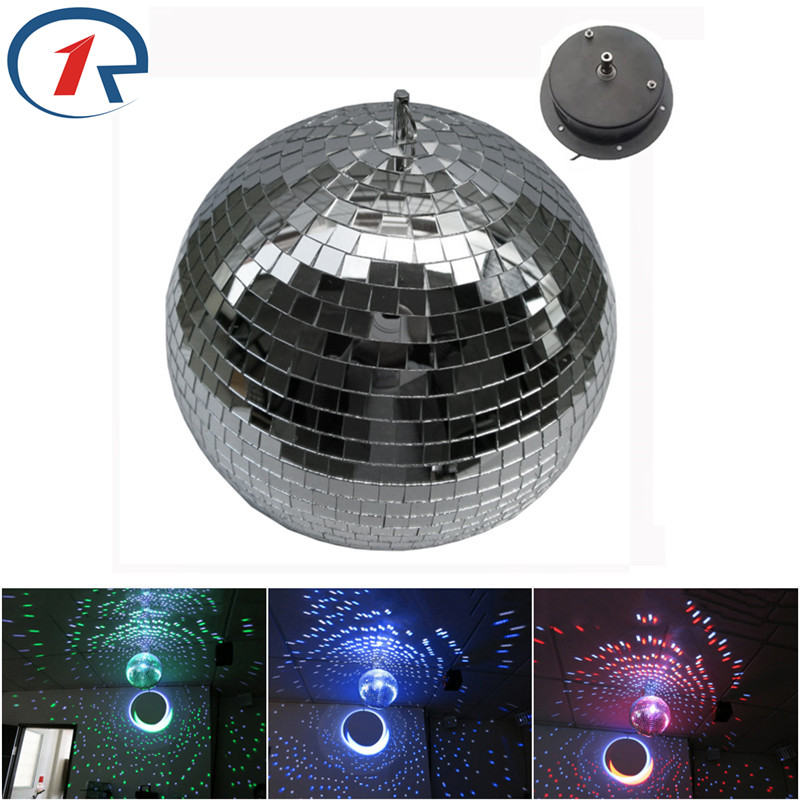 ZjRight 25cm 9.84inches large Ballroom Disco Mirror Ball Light Reflection Glass Ball Stage big Balls With Motor fixtures colorfull light mirror reflection glass ball stage festival hanging ball motor 10inch 19cm