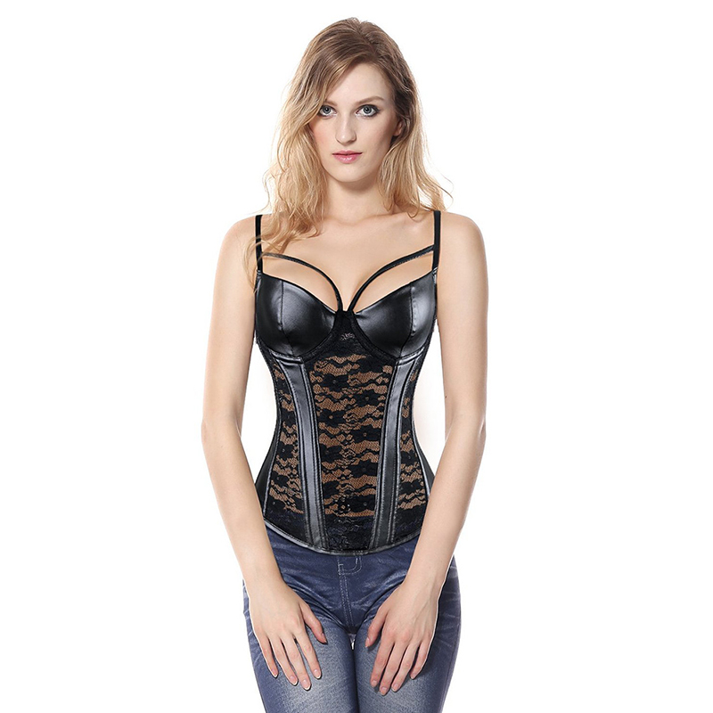Sexy-Steampunk-Gothic-Women-s-Overbust-Corset-Bustier-Black-Sheer-Lace-Faux-Leather-Corsets-Top-Slimming