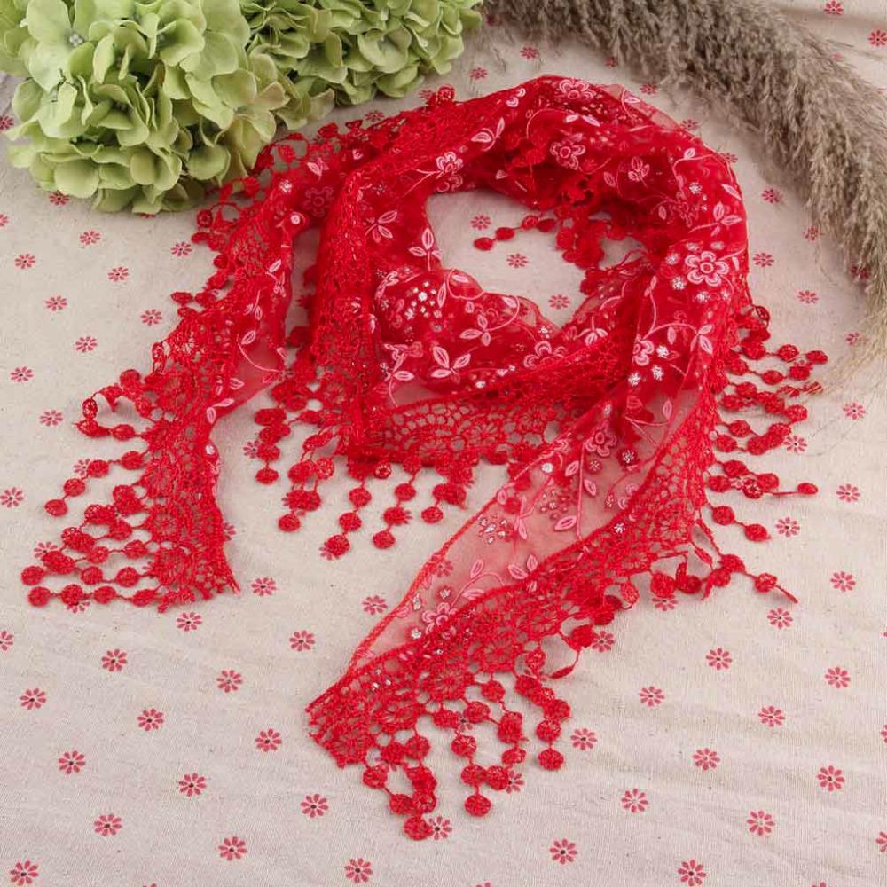Summer Lady Lace Tassel Triangle Scarf Sheer Metallic Women Bandage Floral Scarves Shawl Female Bufanda Mujer