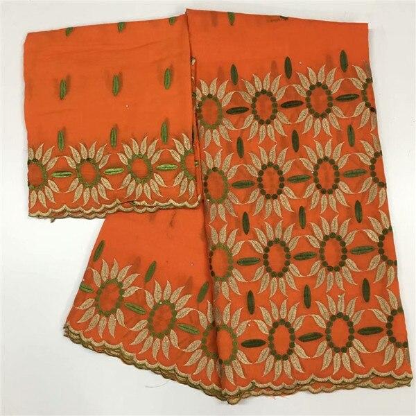 Dernier orange 5Y africain coton dentelle tissu avec 2y suisse voile écharpe dentelle tissu pour robe ensemble CCV15 (5 + 2y)