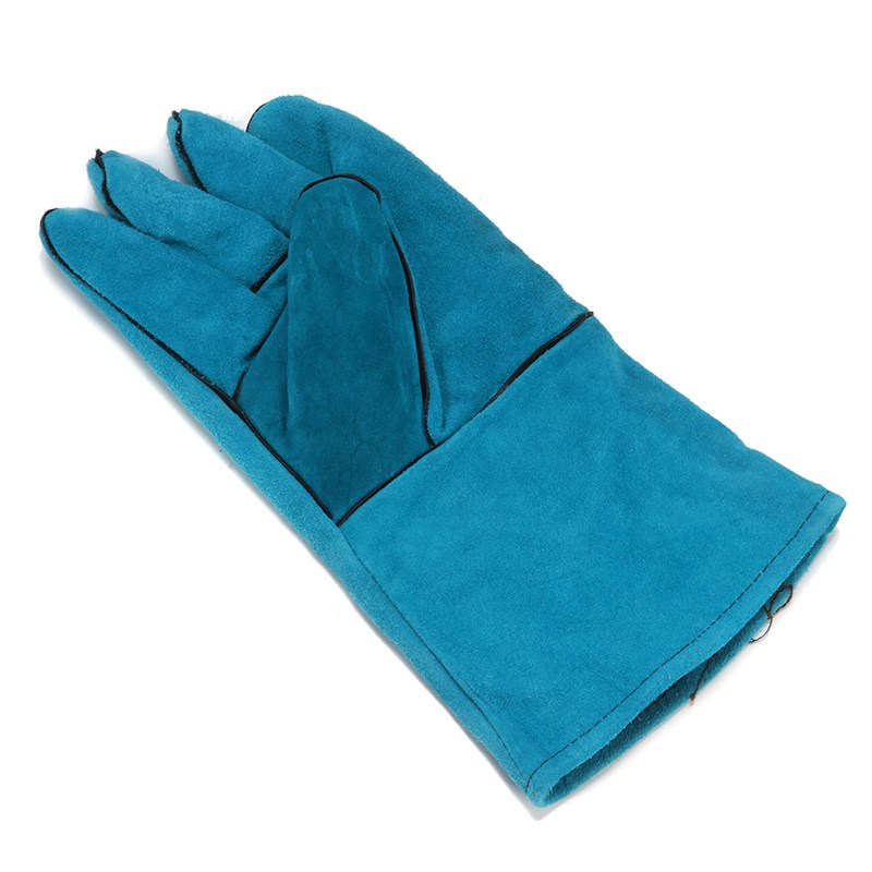 NEW Wearable High Temperature Welding Blue Cowhide Long Leather Welding Gloves Workplace Safety Hand Protection цена и фото
