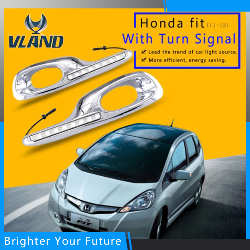 2Pcs Daytime Running Lights DRL LED Fog Lamp for Honda Fit Jazz 2011~13 Daylight with Yellow Turn Signal led drl daytime running fog lights with pole for bmw 5 series f10 10 m tech m technik daylight fog led head lamp
