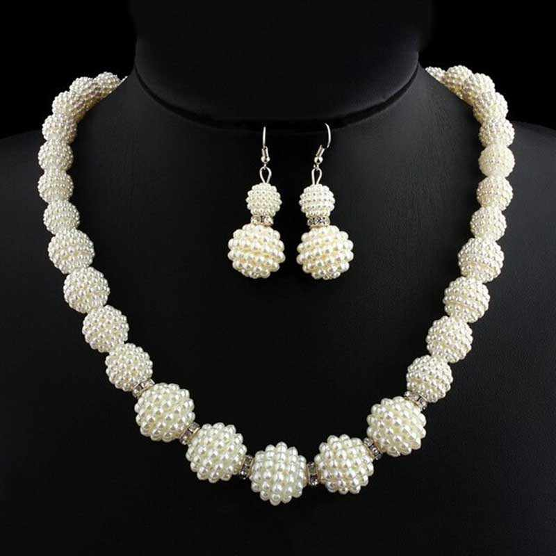 Elegant Wedding Indian Jewelry Sets Big Simulated Pearl Necklace Sets Fashion Women Statement African Beads Jewelry Set for gift
