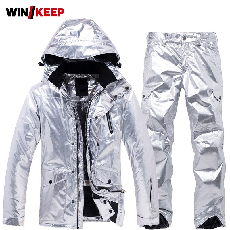 Womens Skiing Suit Brand Winter Outdoor Snowboard Hooded Jacket & Pants Two Piece Set Waterproof Warm Thick Snowboarding Outwear