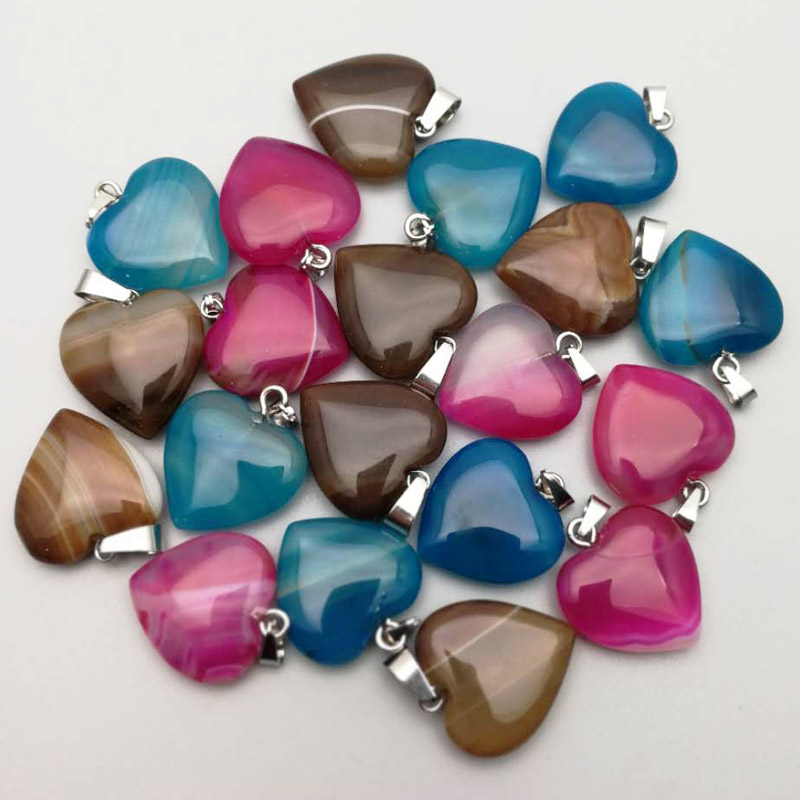 Fashion Mixed Striped Onyx Natural Stone Heart Pendants For Jewelry Making 20MM Charm Necklace Accessories 12Pc/lot