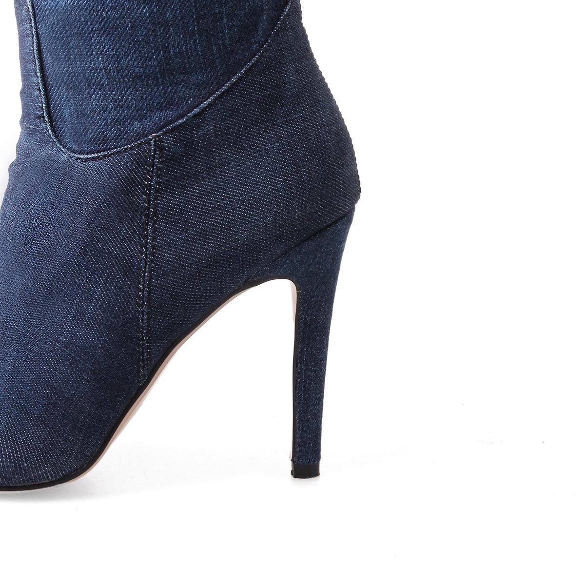 QZYERAI autumn and winter the ladies are high heel denim over knees boots European sexy womens shoes high heels and womens boots