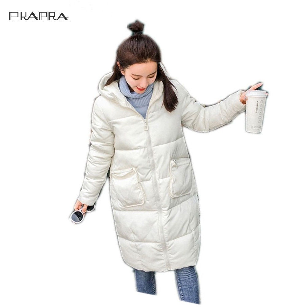 Winter Women Jacket Long Slim Female Snow Outerwear Casual  Plus Size Thickening Warm Coat Two Zippered Solid Hooded Down Parka 2017 new winter jacket women coat plus size female slim parka collar outerwear basic down top casual long jackets