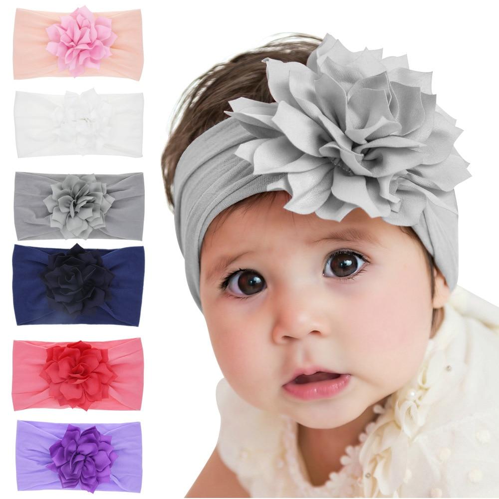 Nishine Boutique New Girls Lotus Flower Headbands Kids Elastic Nylon Wide Hair Band Christmas Hair Accessories Photo Props