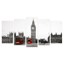 5 Pieces HD Printed The Big Ben London Landscape Canvas Painting Black and White Wall Picture for Living Room/VA170814-6
