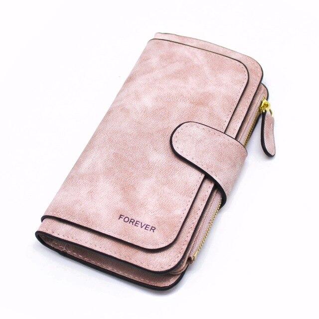 Suede Leather Zipper Long Wallet  4