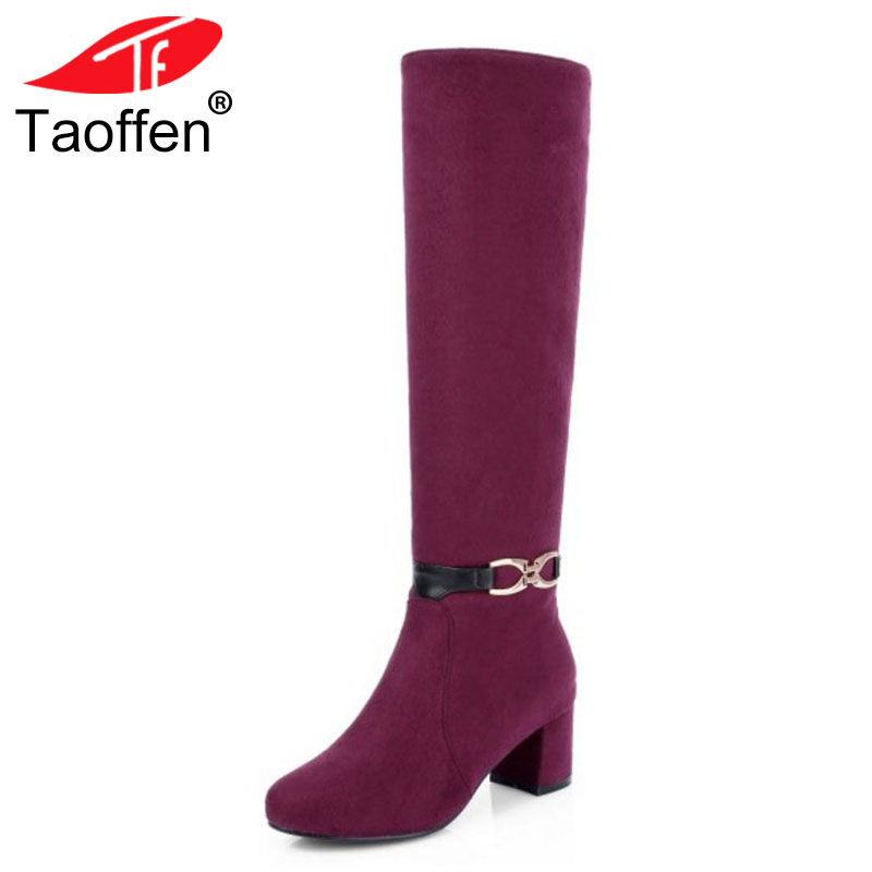 TAOFFEN Plus Size 32-45 Women Shoes Autumn High Heels Knee High Boots Metal Thick Heels Winter Boots 2018 Female Long Shoes Red plus size 34 43 winter autumn women soft leather knot low heels lovely knee high boots 3colors pink ladies fashion female shoes
