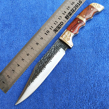Handmade Forged tactical utility patterned steel pattern hunting knife fixed tools Pear handle first layer packing Sharp Knives все цены