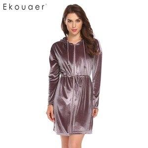 Image 2 - Ekouaer Women Robe Kimono Long Sleeve Velvet Hooded Solid Bathrobes Nighties Sleepwear Robe Dressing Gown Female Nightwear
