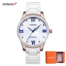 2018 Women Watch LONGBO Brand Luxury Fashion Elegant Dress Wristwatches Analog Quartz Watch  Ceramic Strap Waterproof Watches стоимость