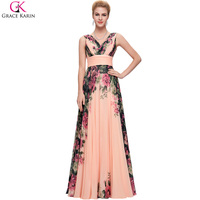 Evening Dresses Long Grace Karin 3 Design 2016 Flower Print Vestido De Festa Longo Chiffon Plus