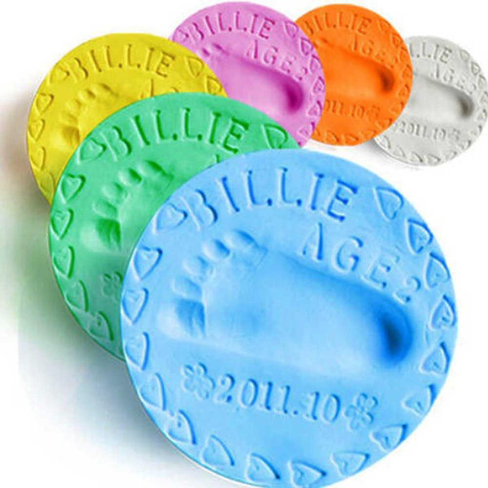 1pc bebê mão impressão pegada argila impressão kit fundição de secagem de ar do bebê argila macia pai-filho mão almofada de tinta impressão digital memória