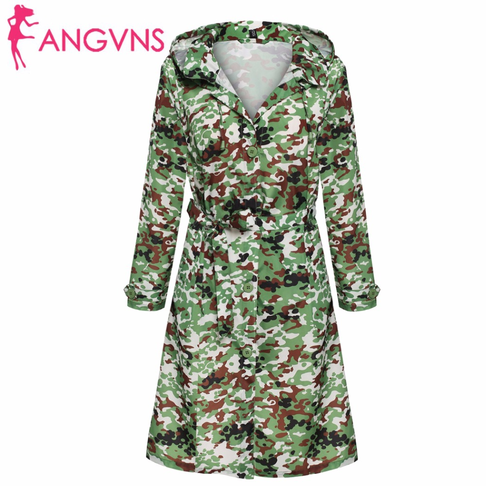 ANGVNS Army Camouflage Coat Plus size Hoodies Women Trench Coat Waterproof Windbreaker Raincoat Outdoors Clothes with Belt S-3XL