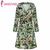ANGVNS Army Camouflage Coat Hoodies Front Button Women Trench Coat Waterproof Windbreaker Raincoat Outdoors Clothes With