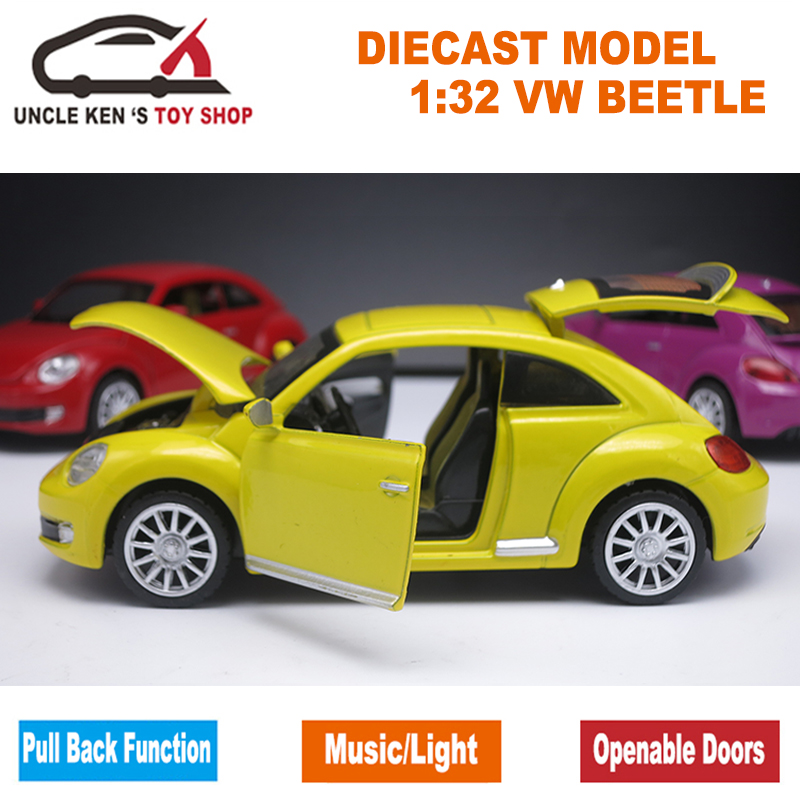 Scale Diecast Model Collection Beetle Car, Kid Boys Present, Toys Metal with Door Openable / Pull Back Fun / Music / Light