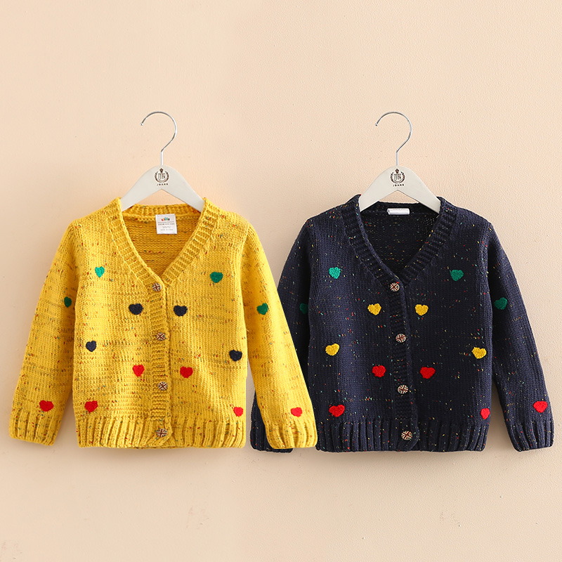 2017 spring Love baby sweater coat new arrival girls kids children knit love heart sweater Cute