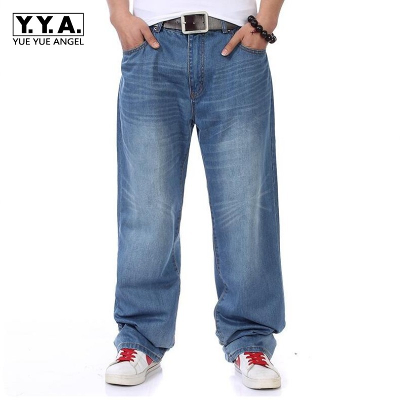 Mens Casual Loose Denim Jeans Pants Baggy Plus Size 30-46 Retro Washed Full Length Trousers Hip Hop Streetwear Free Shipping
