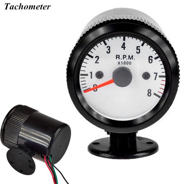"EE suporte 2 ""52mm Universal Relógio Automóvel Caixa Preta Dial Branco Ponteiro Indicador Led Azul Tacômetro RPM Medidor Medidor XY01"