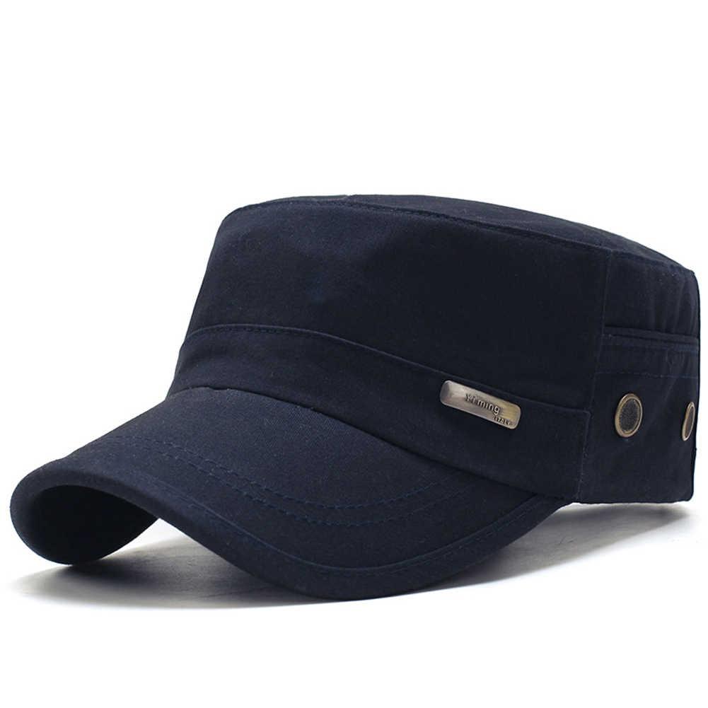 Mannen Zomer Army Caps Verstelbare Lente Baseball Fashion Klassieke Katoenen Flat Top Militaire Hoed Outdoor Zonneplek Casual