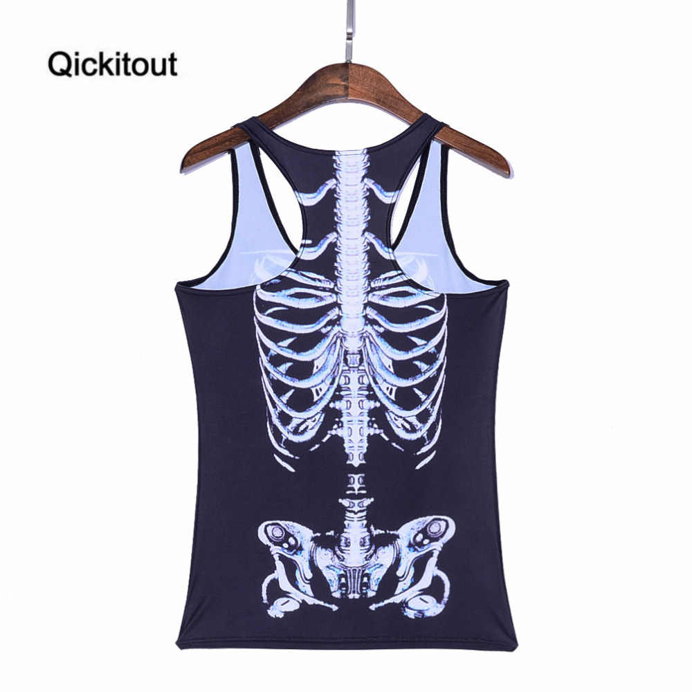Qickitout Tops 2016 Wanita musim panas Blus Seksi Strapless Tanpa Lengan Digital Print Kasual Putih skeleton Tank Tops Rompi