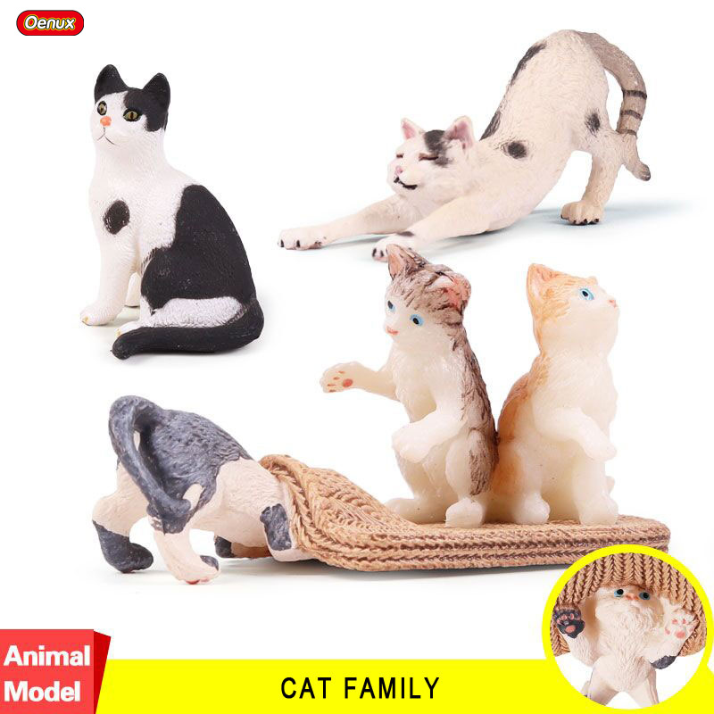 Oenux Pet Cat Lazy Cat Animal PVC Action Figures Toys Black Cats Family Model Collection Educational Toy For Kids Birthday Gift lps toy bag 25pcs pet shop animals cats puppy kids boy and girl action figures pvc lps toy birthday christmas gift 4 5cm