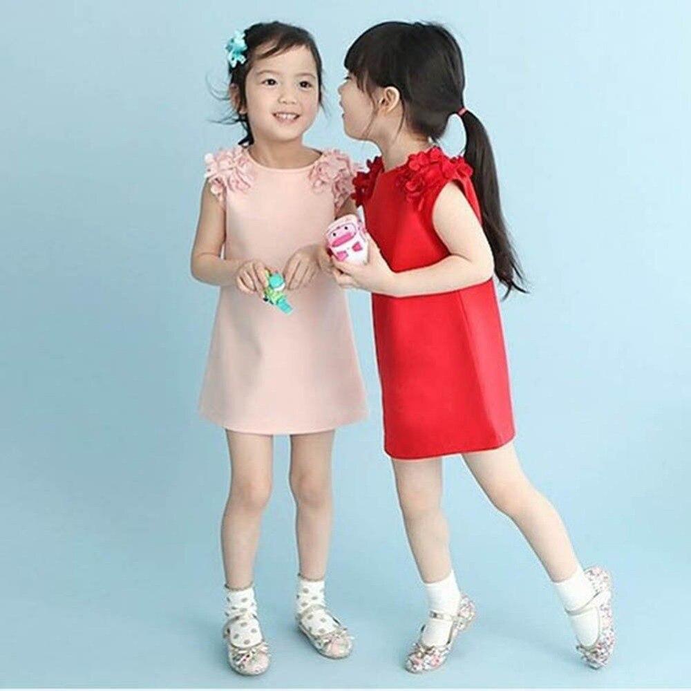 Baby Kid Girls Summer Sleeveless Flower Shoulder Princess Dress Girl Clothes vestido de menina ( Choose by detail size Not Age )