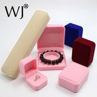 Terciopelo de lujo anillo COLLAR COLGANTE pulsera brazalete joyería presentación caja de almacenamiento para joyería embalaje de regalo cajas
