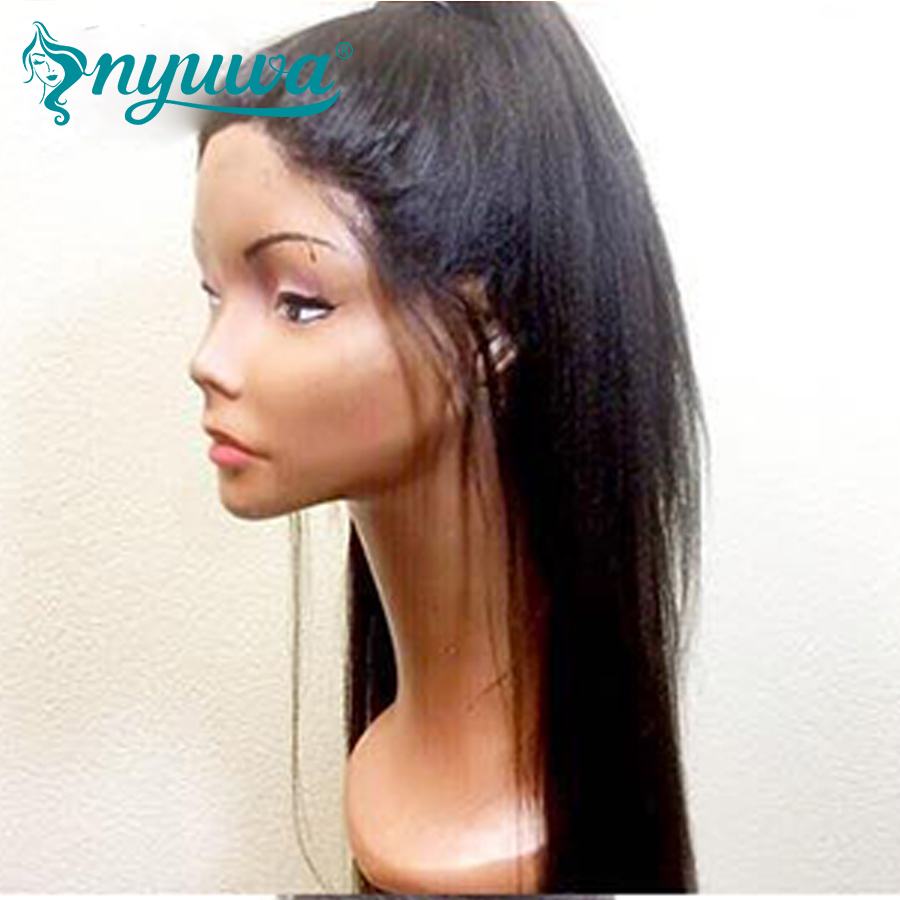 Yaki Straight Full lace Wigs Human Hair With Baby Hair Brazilian Remy Hair Italian Yaki Full Lace Wigs Pre Plucked NYUWA