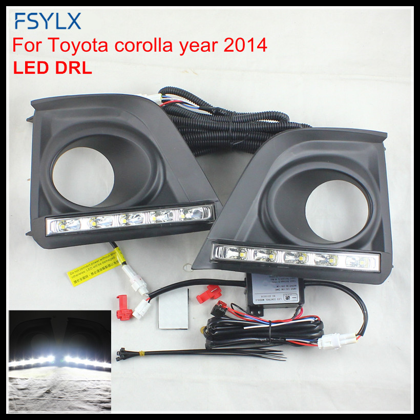 FSYLX Car LED daytime running light for COROLLA LED DRL FOG LAMP For TOYOTA COROLLA 2014-15 LED DRL day running light Fog lamp lyc fog light universal led for car lights car led driving lamps daytime running light switch automatic for toyota drl led lamp