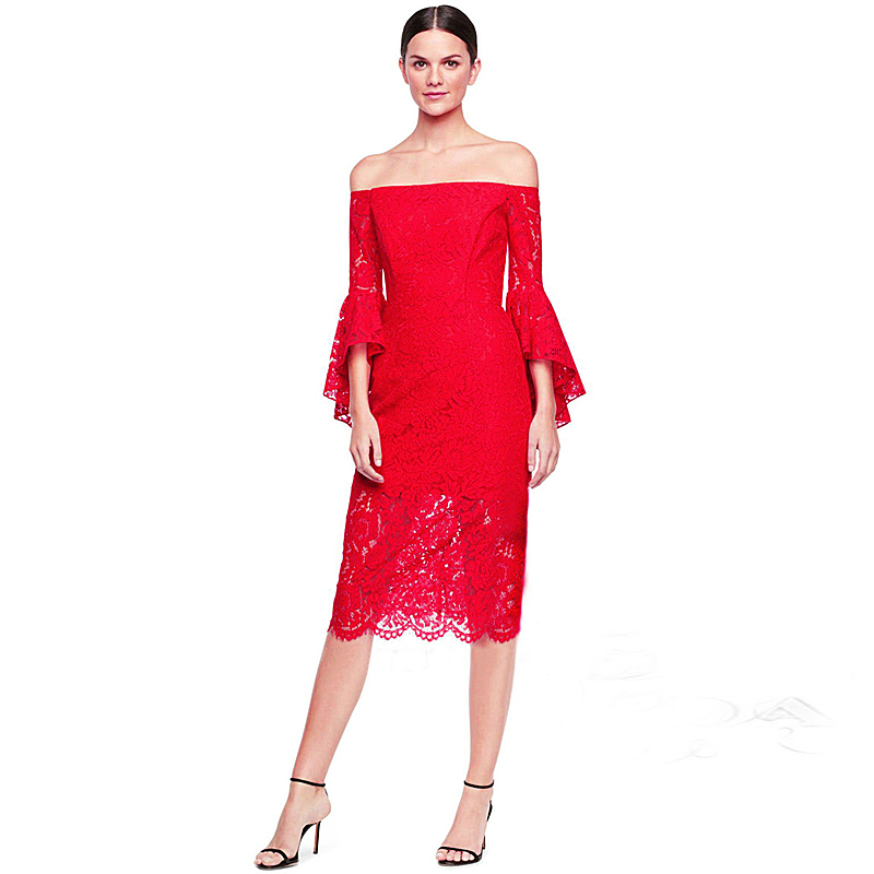 Pencil Runway High Quality 2018 Summer New Women Fashion Party Beach Sexy Teens Vintage Elegant Chic Red Lace Dress